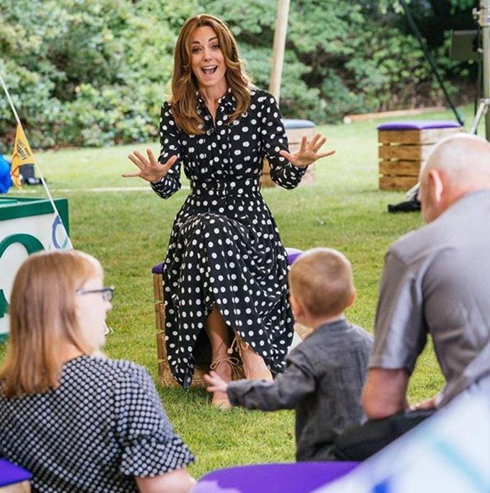 """And we certainly can't forget this polka dot Emilia Wickstead number she wore for a [special BBC collaboration](https://www.nowtolove.com.au/royals/british-royal-family/kate-middleton-polka-dot-dress-64589