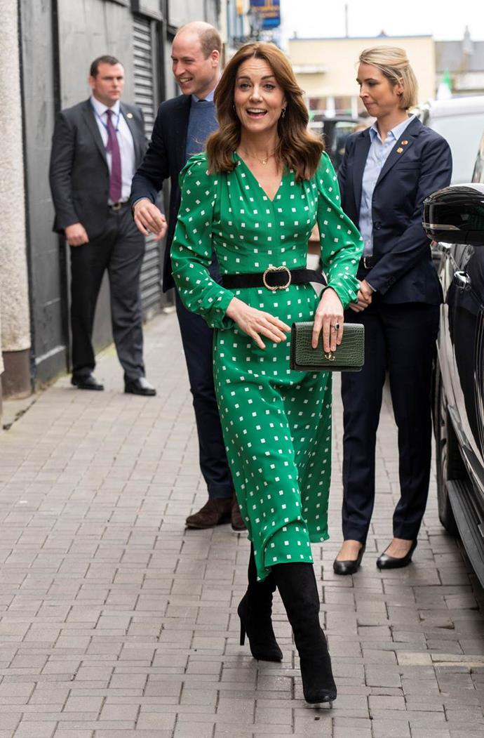 She certainly had the strut of the Irish! Kate wore another green frock during a busy day of engagements during the royal tour. This time, it was all about the spots.