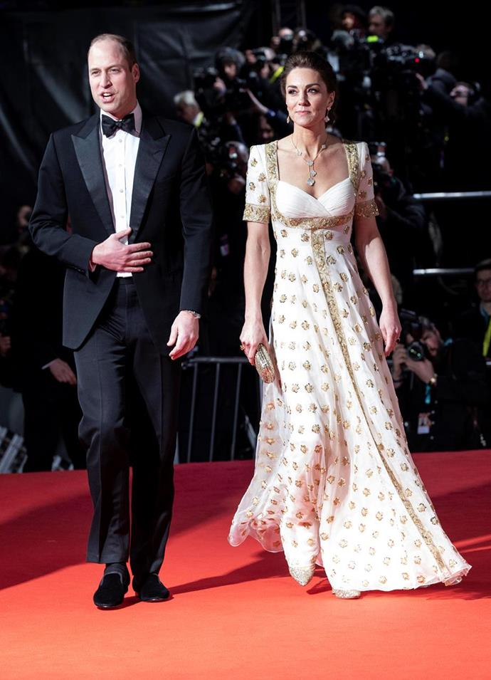 """She followed it up with a real hum-dinger - this [glorious Alexander McQueen dress](https://www.nowtolove.com.au/royals/british-royal-family/kate-middleton-baftas-dress-2020-62408