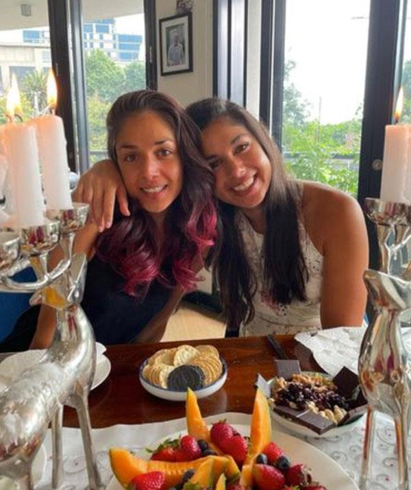 Sarah Roberts enjoys a Boxing Day feast with her sister, Lauren.