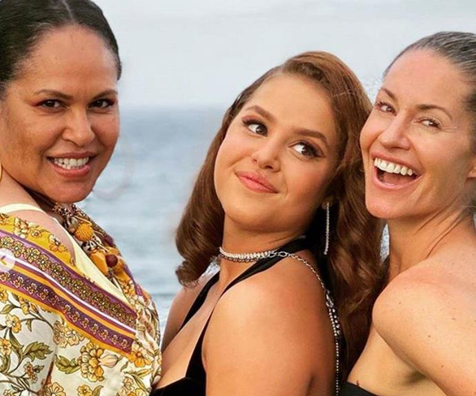 Proud mum, Christine Anu, and stepmother, Renae Berry, with Zipporah at her year 12 formal.