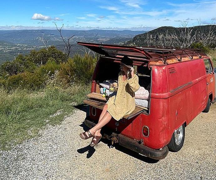 Romantic road trip: Last week Becky was pictured kicking back in this vintage red van.