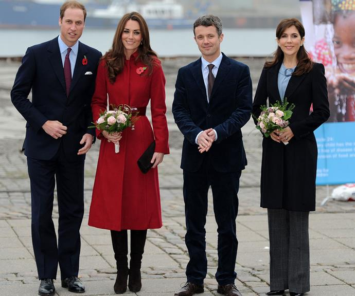 Now *that's* a double date for the ages! Prince William and Duchess Catherine meet with Crown Prince Frederik and Crown Princess Mary during a visit to Copenhagen in 2011.