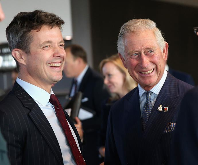 Two heirs walk into a room... Prince Fred and Prince Charles catch up at the Invictus Games Opening Ceremony in London in 2014.