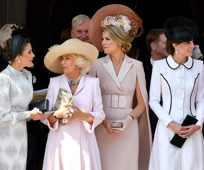 Royal quartet: Queen Letizia of Spain, Duchess Camilla, Queen Maxima of the Netherlands and Duchess Catherine attend the Order of the Garter service at St George's Chapel in June 2019.