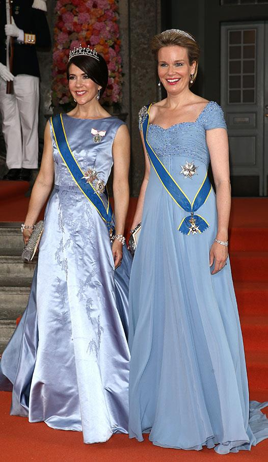 Princess Mary of Denmark and Queen Mathilde of Belgium were in seriously stylish sync when they donned similarly-toned royal-blue gowns for the wedding of Prince Carl Philip and Princess Sofia of Sweden in 2015.