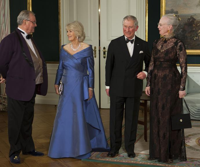 Queen Margrethe and Prince Henrik of Denmark were at complete ease when they hosted an official dinner at Amalienborg Palace in Denmark for the Prince of Wales and Duchess Camilla's visit to Scandinavia in 2012.