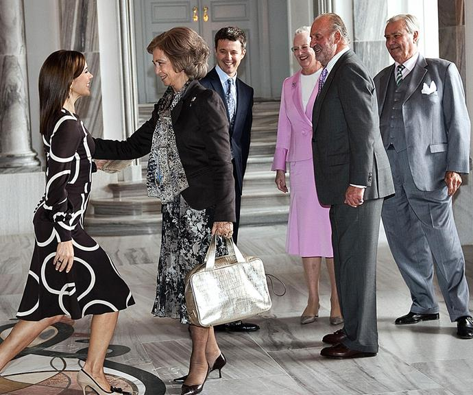 How low can you go? Crown Princess Mary is a pro when it comes to the royal curtsey. The mother-of-four greets Queen Sofia of Spain at Amalienborg Castle in Copenhagen in 2009.