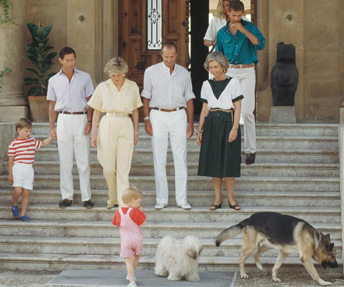 Perhaps the best thing about being friends with other royal families is getting to stay at their stunning palaces. In August 1987, Prince Charles and Princess Diana enjoyed a family holiday with the Spanish royal family at the Marivent Palace in Palma de Mallorca, Spain.