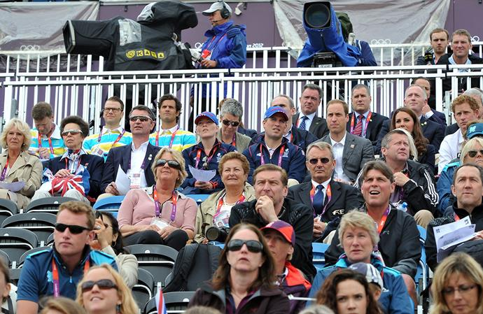 How many royals does it take to fill a VIP Box?  <br><br> Prince Daniel of Sweden, Prince Carl Philip of Sweden, Duchess Camilla, Princess Anne, her husband Vice Admiral Sir Timothy Laurence, Autumn Phillips, Peter Phillips, Prince William, Duchess Catherine and Prince Harry watch the show jumping equestrian at the 2012 London Olympics.