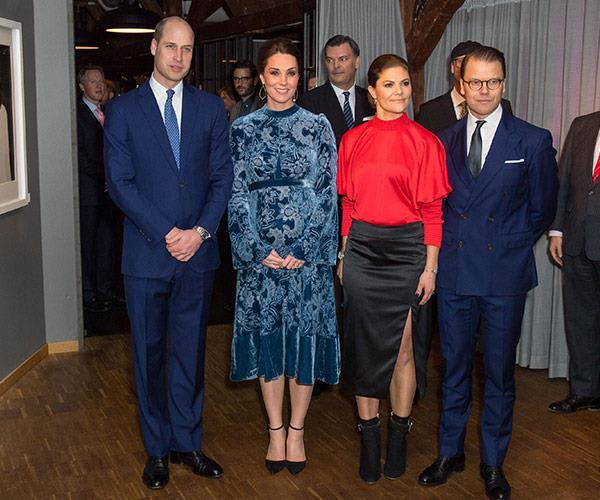 """[The Cambridge duo with their hosts](https://www.nowtolove.com.au/royals/british-royal-family/duchess-kates-smashing-maternity-style-on-sweden-tour-44652