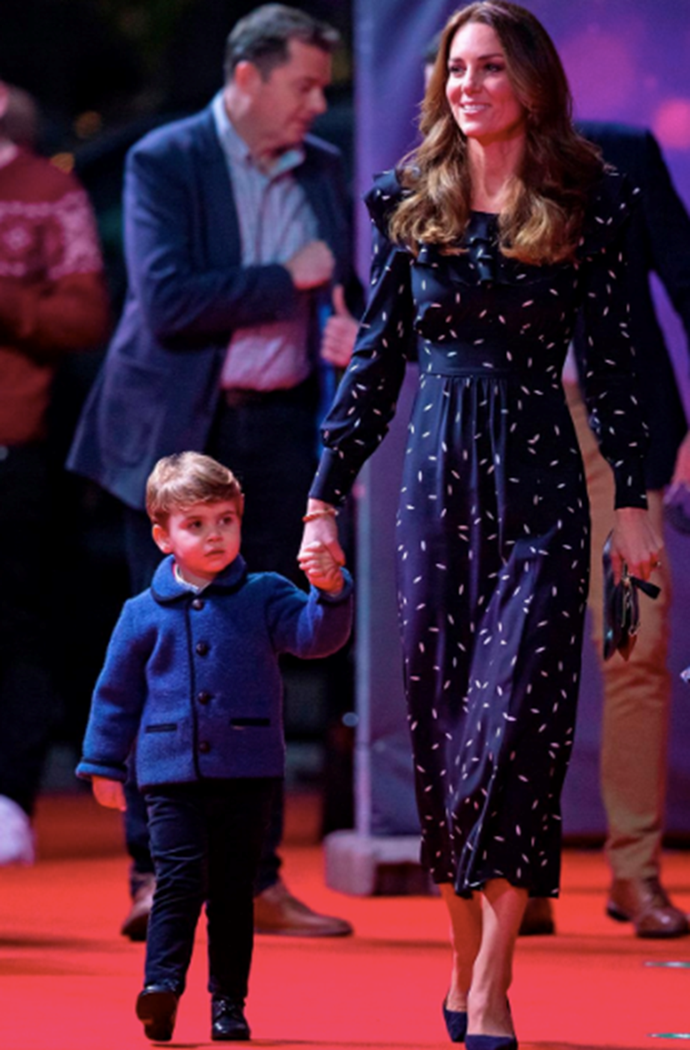 """**Relateable red carpet:** Christmas 2020 was marked with a very special appearance from Duchess Catherine and her young family, including little Prince Louis pictured here. The family [walked the red carpet](https://www.nowtolove.com.au/fashion/fashion-news/kate-middleton-alessandra-rich-dress-66234