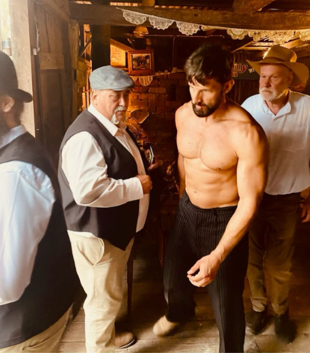 """""""Someone called for a bare knuckle fighter?"""" Tim captioned this snap on set."""
