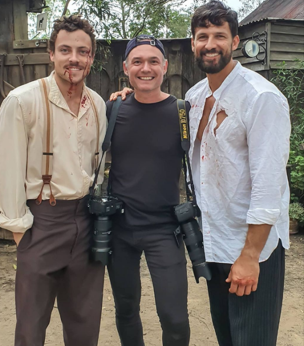 Paddy and Tim were all smiles in between intense scenes.