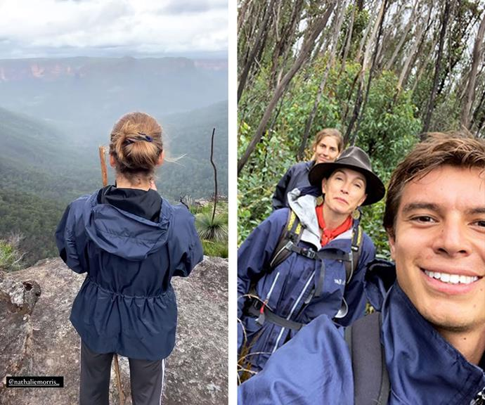 The cast that hikes together, stays together! Nathalie and Carlos join *Bump* co-creator, producer and star Claudia Karvan for a weekend bush walk.