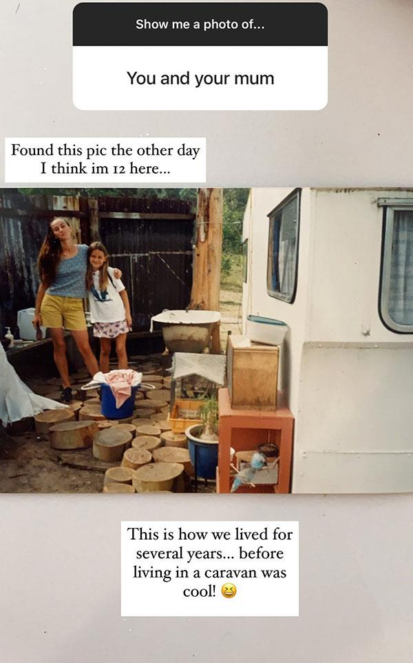 "Throwback: Krystal revealed she and her single mum Karen used to live in a caravan ""before it was cool."""