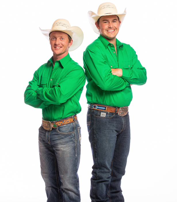 """**Brendon and Jackson, NSW** <br><br> These cowboys are about as True Blue as they come! The pair met through rodeoing over 10 years ago and love all things that will get that adrenaline pumping - but Brendon may not fare so well if frogs are involved. <br><br> """"I'd tongue kiss a brown snake before I touch a frog any day of the week!"""" he says."""