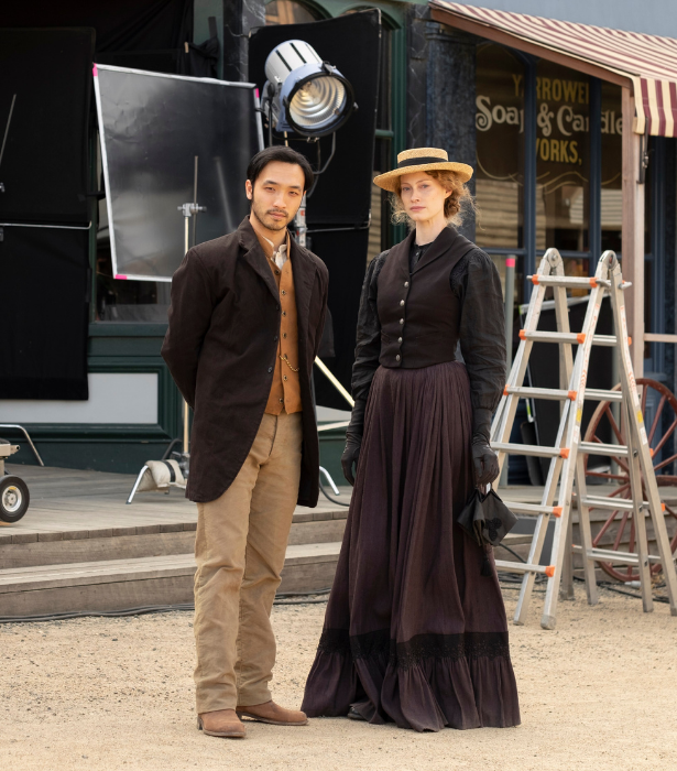 **New Gold Mountain, SBS** <br> This is SBS's first period drama, and it's going to be an epic one. Set on the Victorian goldfields in the 1850s, it's the story of the gold rush told from the Chinese miners' point of view, wrapped around a murder mystery. <br>  *New Gold Mountain* stars Mulan's Yoson An as Leung Wei Shing, the headman of the Chinese digging camp, and Vikings' Alyssa Sutherland as the gutsy Belle Roberts. <br>  The four-part series was shot partly at Ballarat's historic Sovereign Hill.