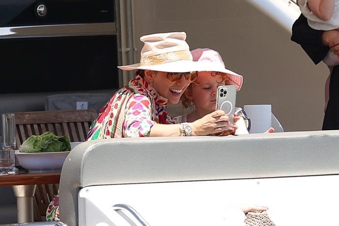 Selfie time! Zoe and Rudy capture a sweet mother-daughter snap.