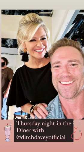 Who doesn't love a little Thursday evening catch up? Emily Symons shared this cute BTS snap with co-star Ditch Davey as they filmed evening scenes at the iconic Diner.