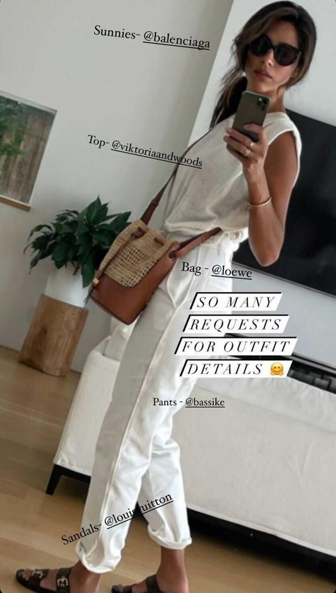 Pia shared a quick pic detailing her all-white outfit.