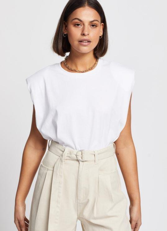 """Aere padded shoulder muscle tee, $59. **[Buy it online via The Iconic here](https://www.theiconic.com.au/padded-shoulder-muscle-tee-1098642.html