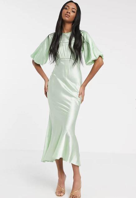 "ASOS DESIGN satin midi tea dress in green, $60.45. **[Buy it online here](https://www.asos.com/au/asos-design/asos-design-satin-midi-tea-dress-with-lace-inserts-in-green/prd/14076801|target=""_blank""|rel=""nofollow"")**"