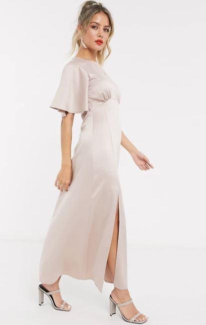 "Style Cheat satin flutter sleeve midaxi dress in soft blush, $65. **[Buy it online here](https://www.asos.com/au/style-cheat/style-cheat-satin-flutter-sleeve-midaxi-dress-in-soft-blush/prd/14380977|target=""_blank""|rel=""nofollow"")**"