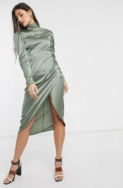 """John Zack Tall high neck satin ruched side midi dress in khaki, $35.20 (on sale). **[Buy it online here](https://www.asos.com/au/john-zack-tall/john-zack-tall-high-neck-satin-ruched-side-midi-dress-in-khaki/prd/14301675