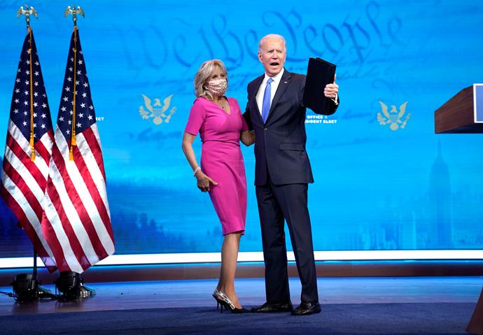 This pink dress was also a winner as husband Joe delivered a statement following the Electoral College Vote Certification.