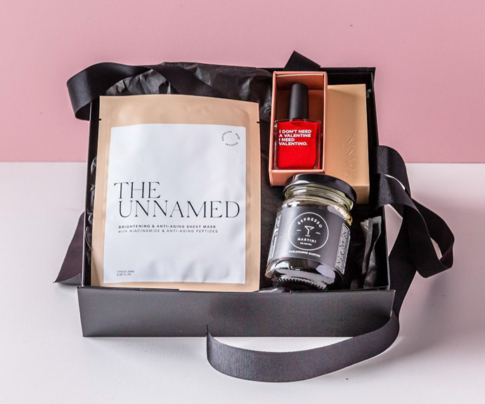 """If you can't be with them on Galentines, whether that be thanks to COVID or living far apart, these specially made gift hampers are ideal and adorable. Whether it's the espresso martini and nailpolish-facemask combo or a rose and diary partnering, there's an option for everyone.  <br><br>  *Leo Loves Coco Galentines Gift Hampers, from $39.95, [**shop it here.**](https://leolovescoco.com.au/collections/galentines-day
