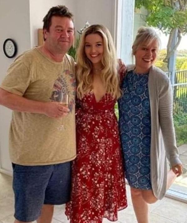 Family bliss: Gina, pictured with husband Rick McKenna and their daughter, actress Maggie McKenna.