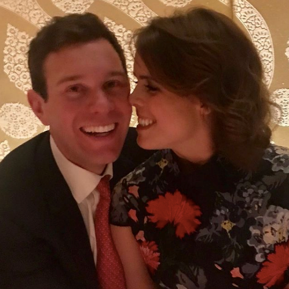 Eugenie shared this gorgeous unseen photo of the pair as they marked three years since their engagement.