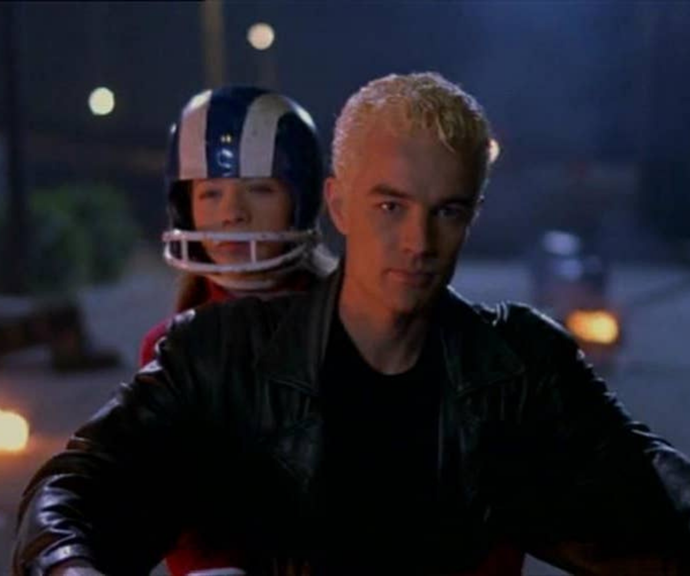 **Spike in Buffy The Vampire Slayer <br>** A bonefide bad boy with his bleach blonde hair, witty yet reckless attitude and motorbike, Spike was the epitome of cool. As devilishly dangerous as he was, he was still a vampire and a nasty one at that. <br> Things took a turn when he comically fell for Buffy but over time his love proved undying and in the finale episode he laid down his life to save not only her but the whole world. Sob!