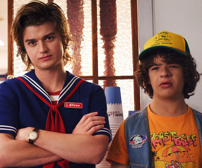 **Steve Harrington in Stanger Things <br>** The highschool heartthrob who knows his way around a can of hairspray was a farily typical self-obsessed popular kid when we first met him. At his lowest point he spread terrible rumours about Nancy in an attempt to ruin her life. <br> Facing the evil of the upside down proved a perfect wake up call and Steve became like a mother-hen to the Stranger Things tweens, forming a particularly sweet bond with Justin.