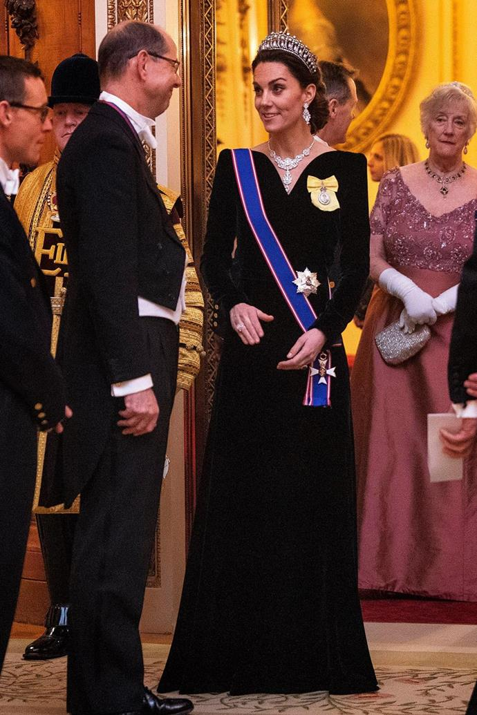 Going out with a bang: Just weeks before the COVID-19 pandemic would put an end to large-scale gatherings, Kate glowed in the Cambridge Lovers Knot tiara.