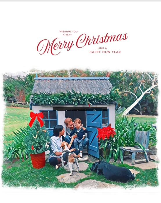 Meghan & Harry's official Christmas card photo featured the family sharing a moment in their backyard.