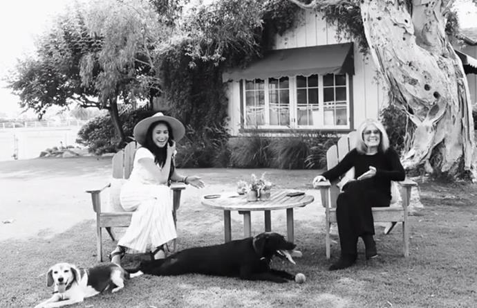 Meghan looked calm and relaxed in the clip as she sat with Gloria Steinham and her two dogs Guy and Pula/