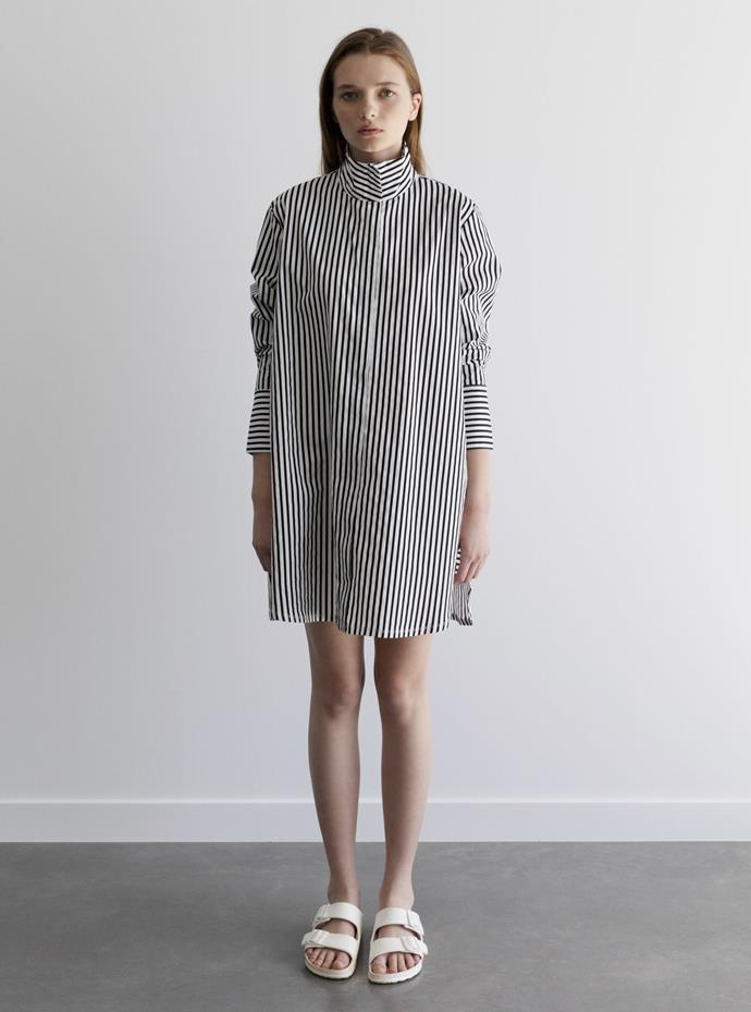 "The Passenger Lucy Dress in black and white stripe is available for $210. **[Order or pre-order a sold out size here](https://www.passengerwear.com/collections/ss19-20/products/lucy-black-white-stripe|target=""_blank""