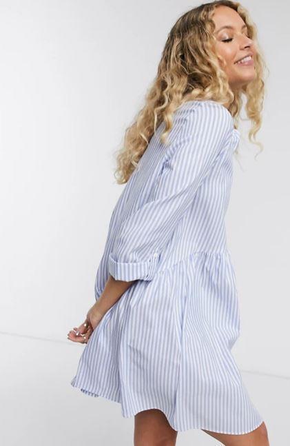 """Only poplin shirt dress in blue strip, $51.65 (on sale). **[Buy it online via ASOS here](https://www.asos.com/au/only/only-poplin-shirt-dress-in-blue-stripe/prd/20379407 target=""""_blank"""" rel=""""nofollow"""")**"""