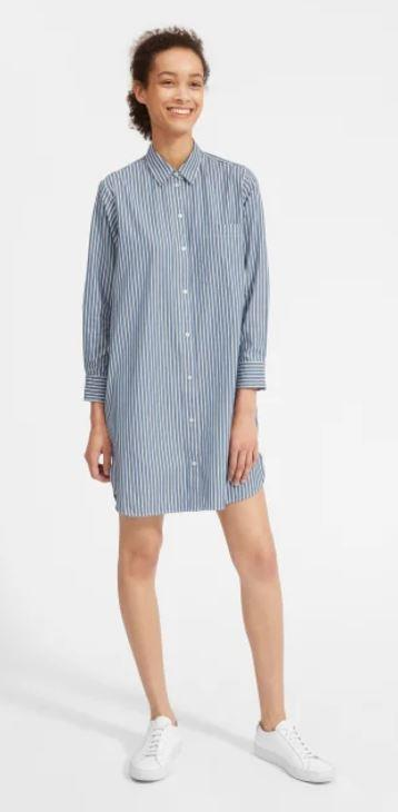 "Everlane cotton shirtdress, $117. **[Buy it online here](https://www.everlane.com/products/womens-cotton-shirtdress-blue-white|target=""_blank""