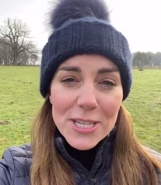 Exercise, but make it chic: The Duchess wore a Barbour jacket  and a matching woollen bobble hat.
