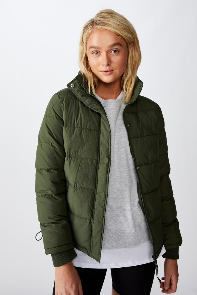 """Cotton On Body The Mother Puffer Jacket, $59.99. **[Buy it online here](https://cottonon.com/AU/the-mother-puffer-jacket/9356067160760.html target=""""_blank"""" rel=""""nofollow"""")**"""