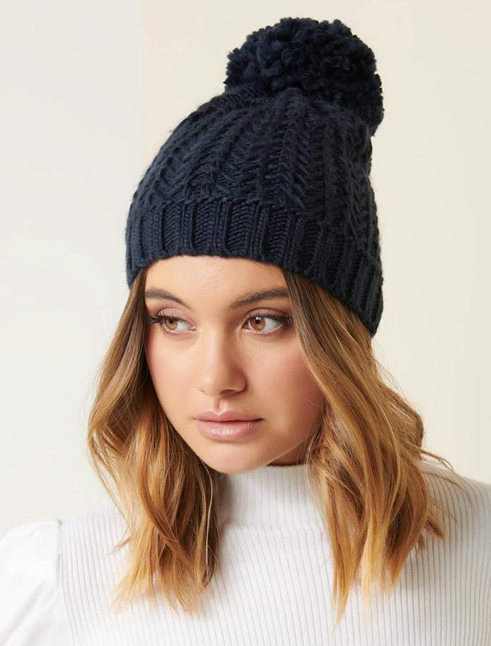 """Forever New Melanie Yarn Pom Beanie, $14.95 (on sale). **[Buy it online here](https://www.forevernew.com.au/melanie-yarn-pom-beanie-264195 target=""""_blank"""" rel=""""nofollow"""")**"""