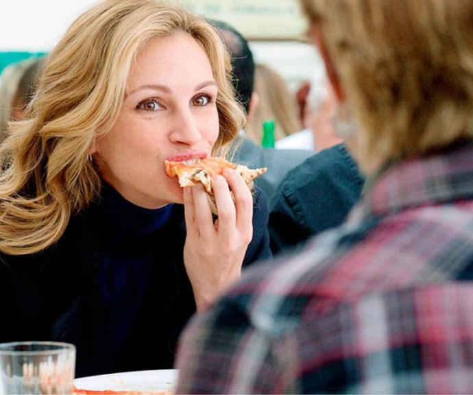 ***Eat, Pray, Love*, Netflix <br><br>** Perfect for those flying solo, *Eat, Pray, Love* follows Elizabeth journey of self discovery following a heartbreaking divorce.