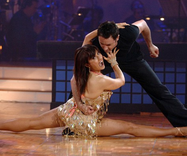 ** Chris Bath ** <br> When it comes to iconic *DWTS* moments, Chris Bath certainly takes the cake. Who could forget the performance where the news reader climbed up on her fake news desk, stripped down and jumped on the back of her partner's motorbike?