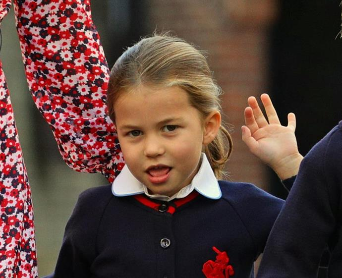 Princess Charlotte pulled the twirl on her first day of school.