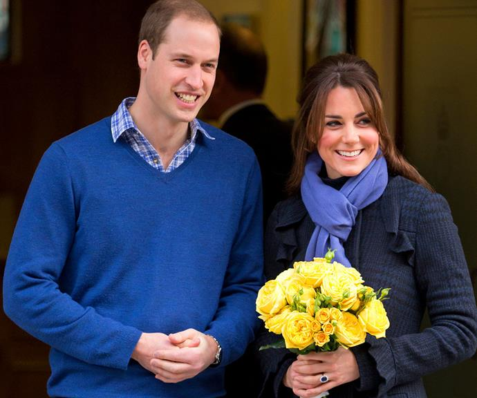 A pregnant Catherine accompanied by her husband Prince William following a stint in the King Edward VII hospital where she was being treated for acute morning sickness during her first pregnancy with Prince Georgie in December 2012.