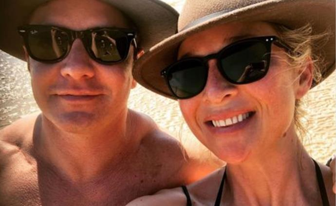 """Best husband, best Dad, best friend #forevervalentine,"" actress Asher Keddie penned alongside this selfie with her artist husband Vincent Fantauzzo."