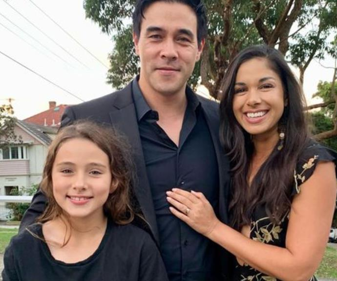 """Rose between the thorns🌹 #myfunnyvalentine #luckyman,"" *Home And Away* star James Stewart mused next to this date-night snap with wife Sarah Roberts and daughter Scout."